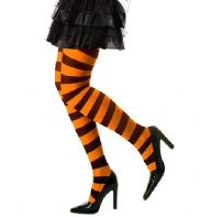 Black/Orange Striped Tights - Plus Size